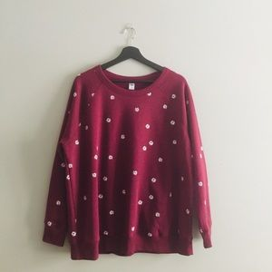 Old Navy | Cranberry Floral Print Sweatshirt